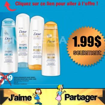 dovehairadvencedface 350x350 - Shampoing ou revitalisant Dove Advenced Hair Series, Oxygen ou Pure Care, à 1.99$ au lieu de 5.99$ (après coupon)