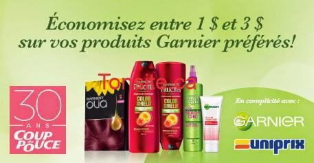 garnier uniprix - 6$ en coupons rabais sur les produits Garnier échangeables exclusivement chez Uniprix