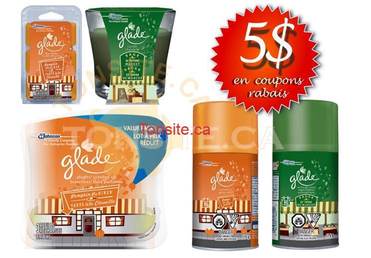glade 5 - 5$ en coupons rabais sur les produits Glade