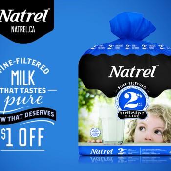 natrel lait 350x350 - Coupon rabais de 1$ sur le lait Natrel Finement Filtré de 4L