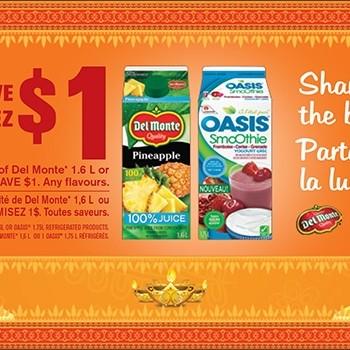 oasis delmonte 350x350 - Coupon rabais de 1$ sur un jus Oasis 1,75L ou Del Monte 1,6L (toutes les saveurs)
