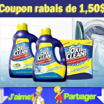 oxiclean 150 350x350 - Coupon rabais de 1,50$ sur un détergent à lessive OxiClean