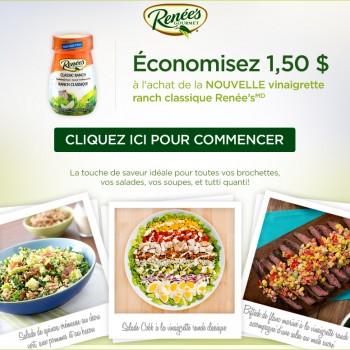 renees coupon 350x350 - Coupon rabais de 1.50$ sur la NOUVELLE vinaigrette ranch classique Renée's