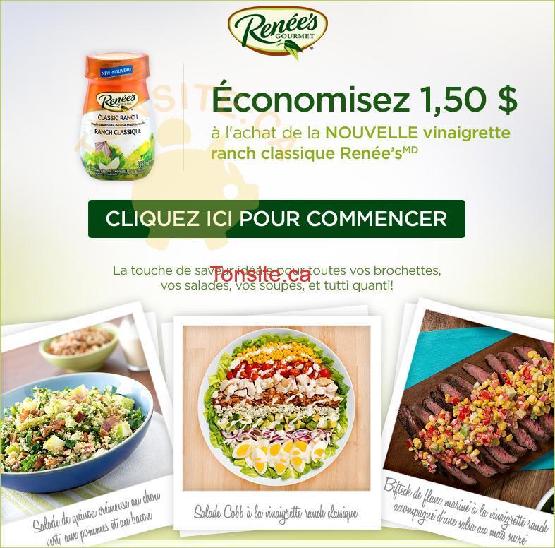 renees coupon - Coupon rabais de 1.50$ sur la NOUVELLE vinaigrette ranch classique Renée's