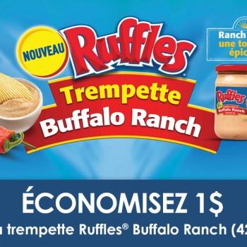 ruffles 350x350 - Coupon rabais de 1$ sur la trempette Buffalo Ranch (425g)
