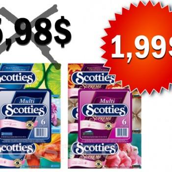 scotties 199 350x350 - Papiers-mouchoirs Scotties 6 boites à 1,99$ au lieu de 5.98$ (avec coupon)