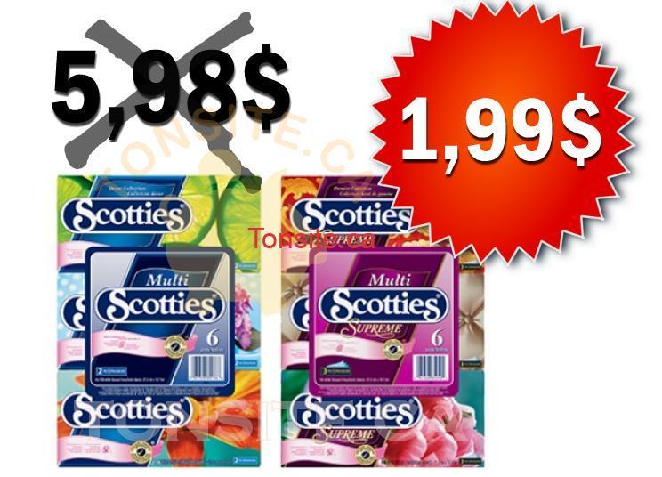 scotties 199 - Papiers-mouchoirs Scotties 6 boites à 1,99$ au lieu de 5.98$ (avec coupon)