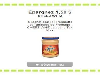 thumb 4943 default big 350x264 - Coupon rabais de 1.50$ sur une trempette et Tartinade de Fromage CHEEZ WHIZ Jalapeno Tex Mex!