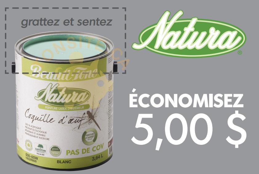 Beauti Tone - Home Hardware: Coupon rabais de 5$ sur un contenant de peinture Beauti-Tone Natura coquille d'œuf (3,78L)