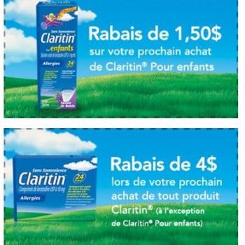 COUPON CLARITIN 350x350 - 2 nouveaux  remises sur les produits Claritin (valeur de 5.50$)