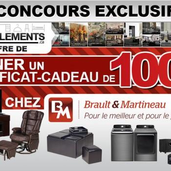ameublements concours 350x350 - Concours Ameublements.ca: Gagnez un certificat-cadeau de 100$ chez Brault & Martineau