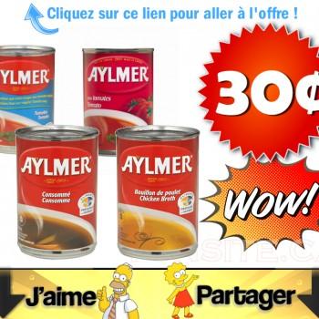 aylmer 30 jpg 350x350 - Soupe aux tomates, tomates réduite en sel, bouillon de poulet ou consommé de bœuf Aylmer (284ml) à 30¢ (sans coupon)!