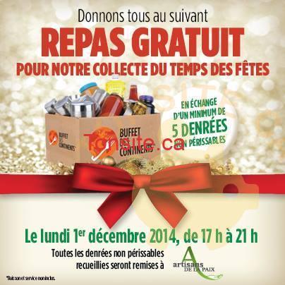 buffet des continents concours - Buffet des continents: Obtenez un repas gratuit en échange de 5 denrées non périssables
