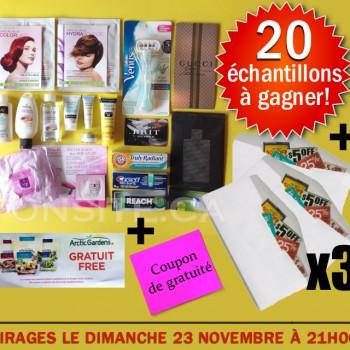 concours 21 11 JPG1 350x350 - Concours Tonsite.ca: Gagnez 20 échantillons ou 1 coupon de gratuité ou 1 des 3 enveloppes de coupons