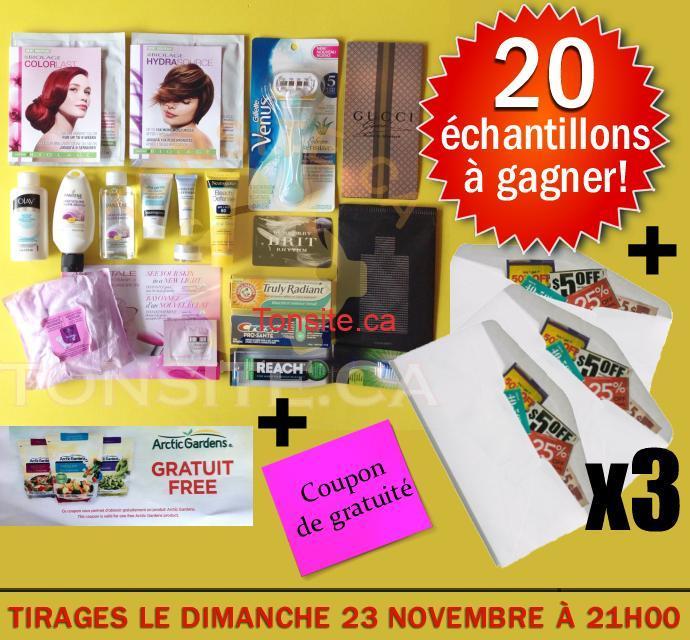 concours 21 11 JPG1 - Concours Tonsite.ca: Gagnez 20 échantillons ou 1 coupon de gratuité ou 1 des 3 enveloppes de coupons