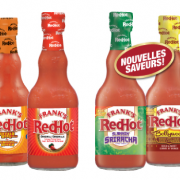 franks 350x350 - Sauce piquante Red Hot Frank's à 2,38$ au lieu de 4,48$ après coupon
