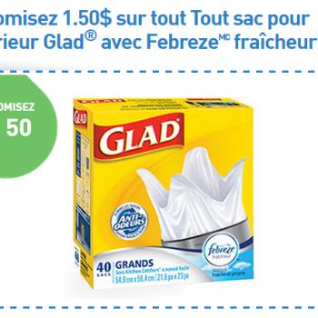 glad febreze fraicheur 350x350 - Coupon rabais de 1,50$ sur tout Tout sac pour l'intérieur Glad avec Febreze fraîcheur