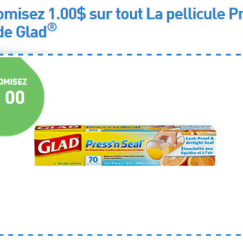 glad press n seal 350x350 - Coupon rabais de 1$ sur la pellicule Press'n Seal de Glad