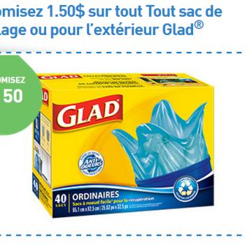 glad sac ext 350x350 - Coupon rabais de 1.50 $ sur tout sac de recyclage ou pour l'extérieur Glad