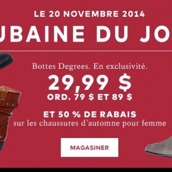 labaie 20 nov 350x350 - La Baie: Bottes degrees à 29,99$ au lieu de 79$ et 89$ + 50% de rabais sur les chaussures d'automne pour femme