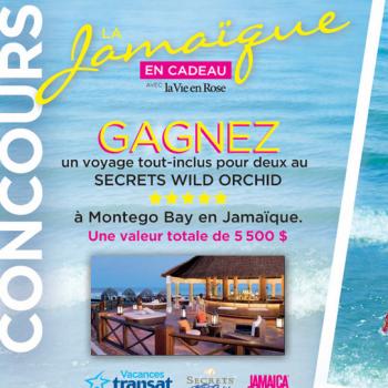 lavie en rose jamaique 350x350 - Concours La Vie en Rose: Gagnez un voyage tout-inclus pour 2 à Montego Bay en Jamaïque