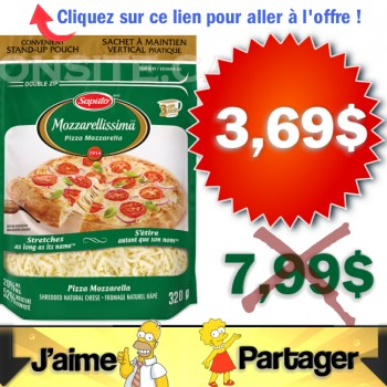 mozaril rape 369 350x350 - Fromage râpé Mozzarellissima de Saputo à 3,69$ au lieu de 7,99$ (après coupon)