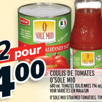 osole mio 2 pour4 350x350 - Produits O'Sole Mio (680ml - 796ml) à 75¢ (après coupon)