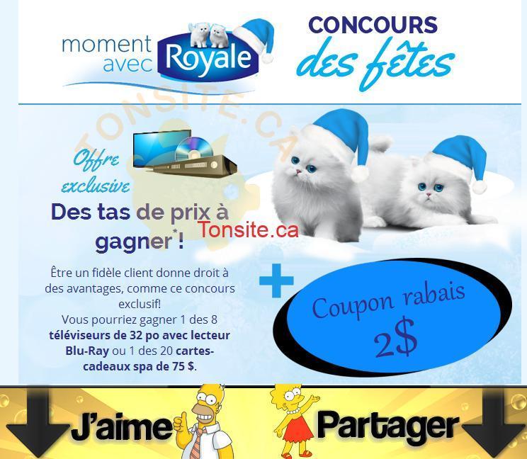 royale fetes - Concours Royale: Gagnez 1 des 8 ensembles-télévision (valeur de 425$) ou 1 des 20 cartes-cadeaux Spa (valeur de 75$)
