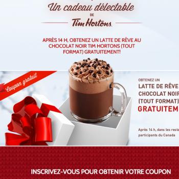 tim horton01 350x350 - GRATUIT: Obtenez un coupon de gratuité pour un latte de rêve au chocolat noir (tout format)