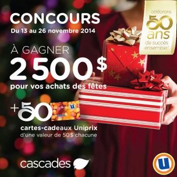 uniprix cascades jpg 350x350 - Concours Uniprix et Cascades: Gagnez 2 500 $ pour vos achats des fêtes ou l'une des 50 cartes-cadeaux Uniprix de 50 $