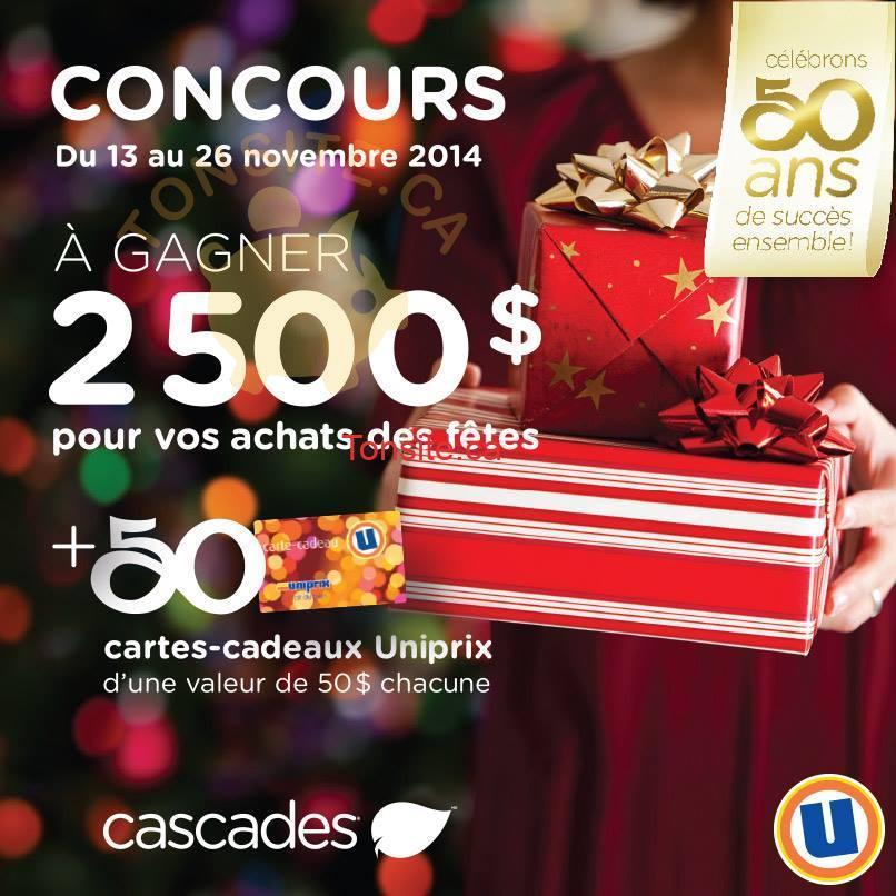 uniprix cascades jpg - Concours Uniprix et Cascades: Gagnez 2 500 $ pour vos achats des fêtes ou l'une des 50 cartes-cadeaux Uniprix de 50 $