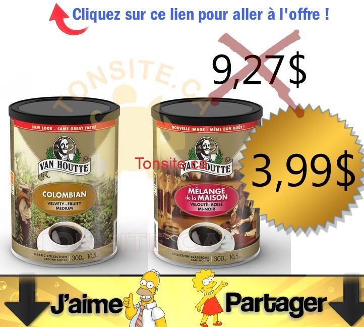 vanhoutte 399 300g - Café Van Houtte (300g) à 3,99$ au lieu de 9,27$ (après coupon)