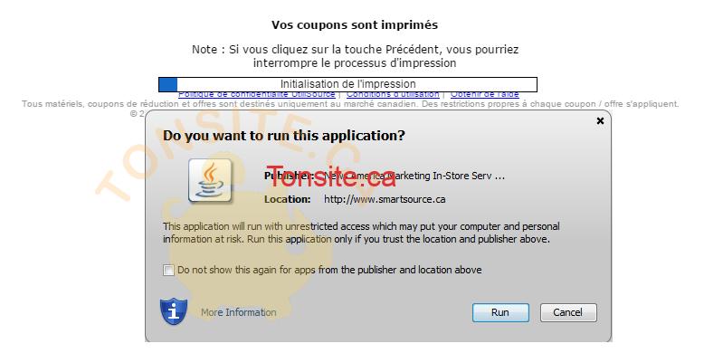 Applet Java - Solutions pour les problèmes d'impression de coupons Smartsource ou P&G