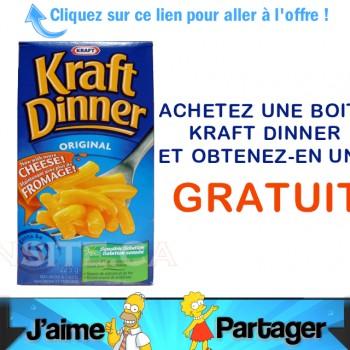 KRAFTDINNERB1G1 350x350 - Coupon B1G1 (Achetez une et obtenez-en une gratuit) sur une boite de Macaroni et fromage Kraft Dinner.