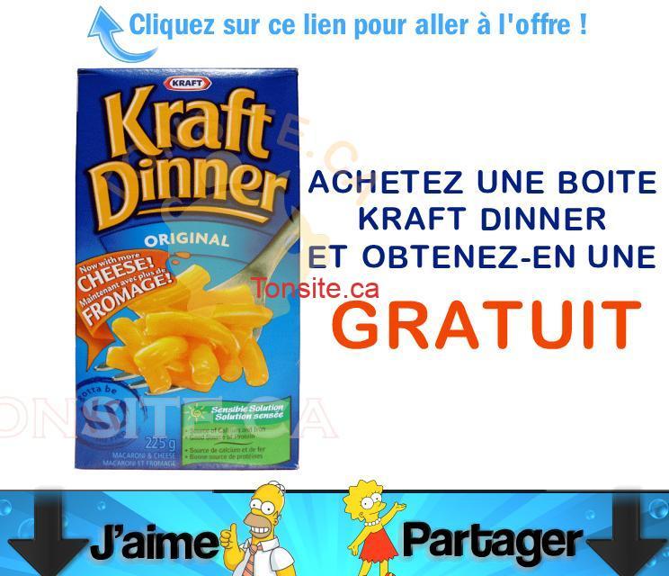 KRAFTDINNERB1G1 - Coupon B1G1 (Achetez une et obtenez-en une gratuit) sur une boite de Macaroni et fromage Kraft Dinner.