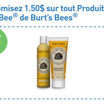 babybee 350x350 - Coupon rabais de 1,50$ sur tout Produit Baby Bee de Burt's Bees