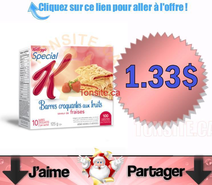 barres special k 1.33 dol - Barres croquantes aux fruits Special K à 1.33$ après coupon.