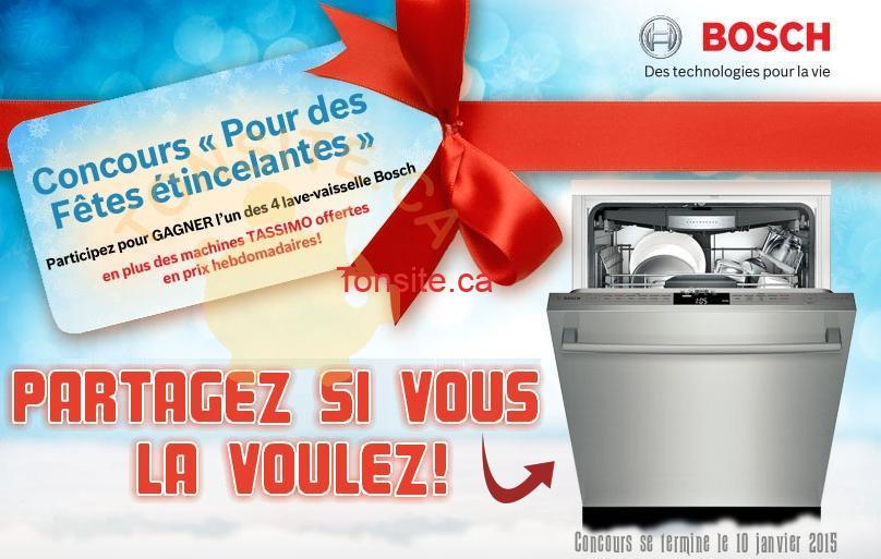 bosh concours1 - Concours Bosh: Gagnez 1 des 4 lave-vaisselle Bosh, et des machines Tassimo offertes en prix hebdomadaires