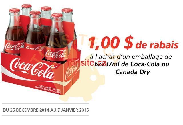 coca cola metro coupon - Coupon rabais de 1$ sur un emballage de 6x237ml de Coca-Cola ou Canada Dry
