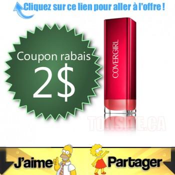 covergirl coupon 350x350 - Coupon rabais de 2$ sur un rouge à levres Colorlicious de COVERGIRL, au choix