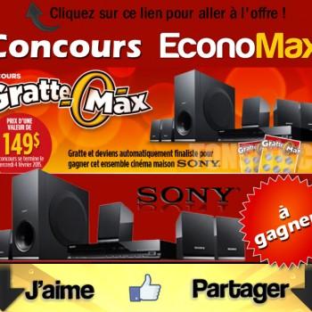 economax concours1 350x350 - Concours EconoMax: Gagnez un ensemble cinéma maison Sony!