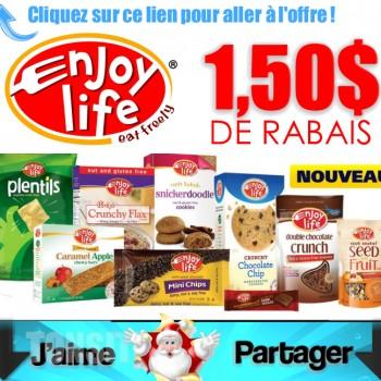 enjoy life coupons 350x350 - Coupon rabais de 1,50$ sur 2 produits Enjoy Life