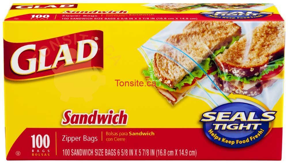glad 100sacs - Un paquet de 100 sacs à sandwich à 1.22$ après coupon!