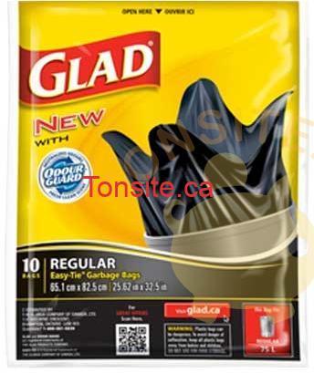 glad10 sacs - Emballage de sacs à ordures Glad à 1,49$ après coupon rabais.