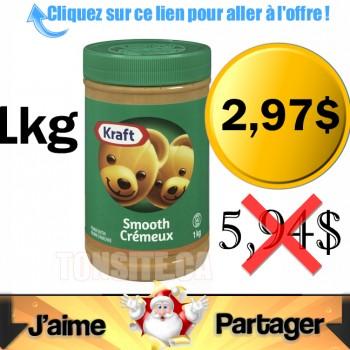 kraft beurre darachide 297 350x350 - Beurre d'arachide Kraft (1kg) à 2,97$ au lieu de 5,94$
