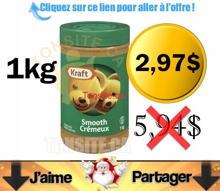 kraft beurre darachide 297 - Beurre d'arachide Kraft (1kg) à 2,97$ au lieu de 5,94$