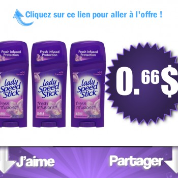 lady speed stick 66c 350x350 - Déodorant Lady Speed Stick à 66$ après remise!