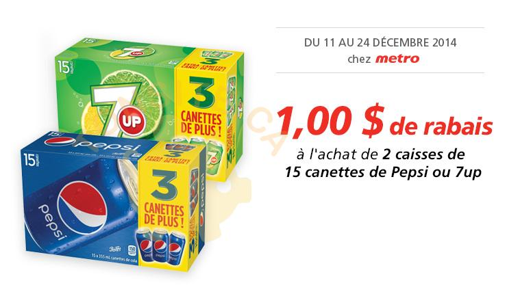 Photo of Coupon rabais de 1$ sur 2 caisses de 15 canettes de Pepsi ou 7up