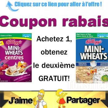 mini wheats coupon 350x350 - Céréales Kellogg's Mini-Wheats: Coupon Achetez 1, obtenez-en 1 gratuit