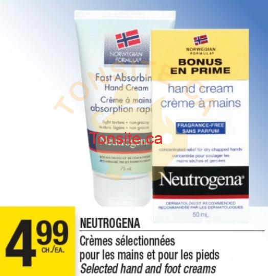 neutrogena 499 - Crèmes pour les mains et pour les pieds Neutrogena à 1,99$ (après coupon)